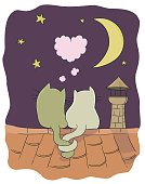 Two little cute cats on a roof with heart shaped bubble, moon, stars, chimney. Vector cartoon illustration on romance theme