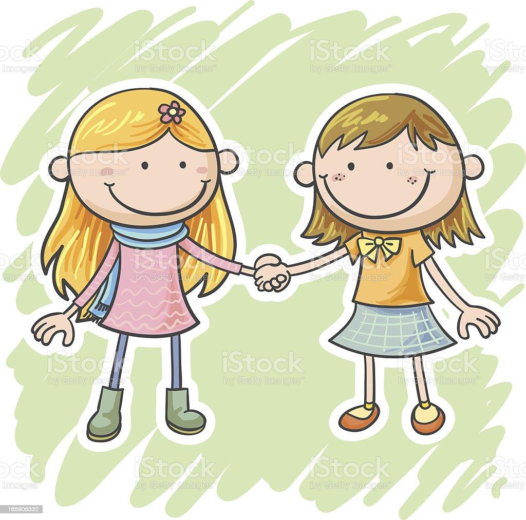 Two little girls are holding hands vector art illustration