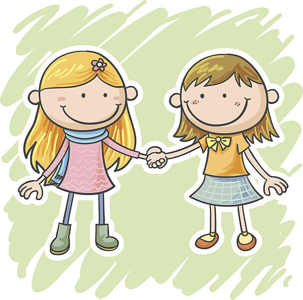 ilustrações, clipart, desenhos animados e ícones de duas meninas estão segurando as mãos - irmã