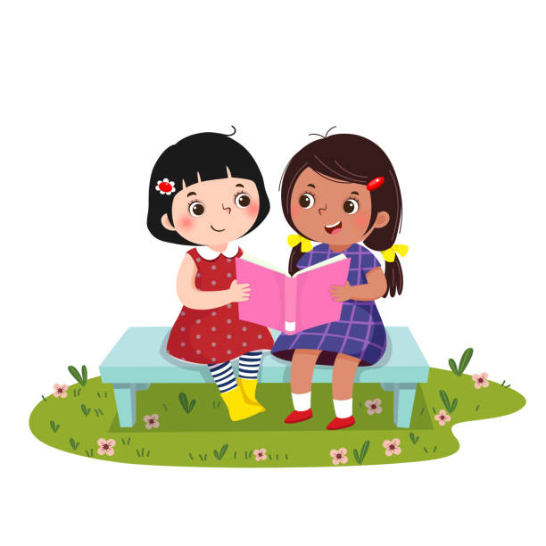 Two little girls sitting on the bench and reading book together. Vector illustration of  two little girls sitting on the bench and reading book together. book clipart stock illustrations