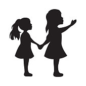 two little girls, vector