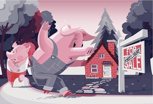 2 つの小さな豚 ベクターアートイラスト