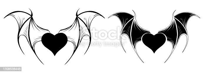istock Two little vampire hearts 1208538445
