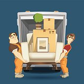 Two loaders movers man holding and carrying armchair