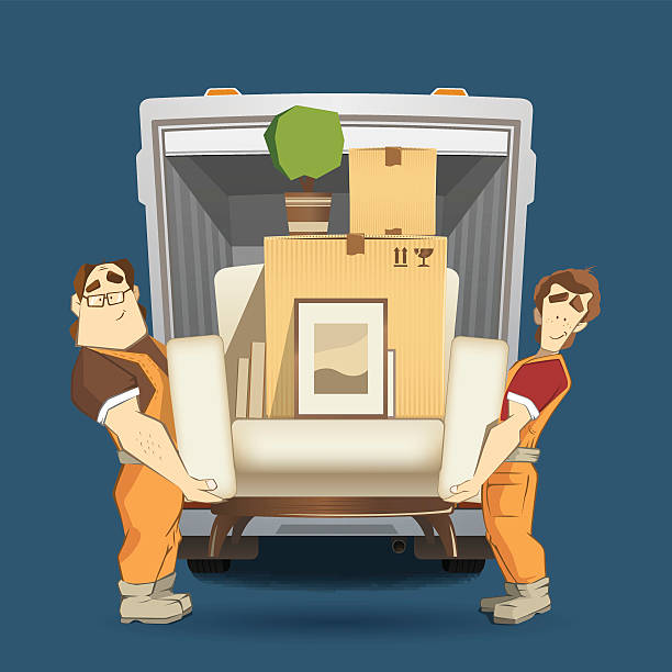 two loaders movers man holding and carrying armchair - new home stock illustrations, clip art, cartoons, & icons