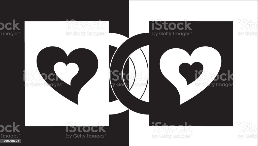 two locked hearts - Royalty-free Adult stock vector