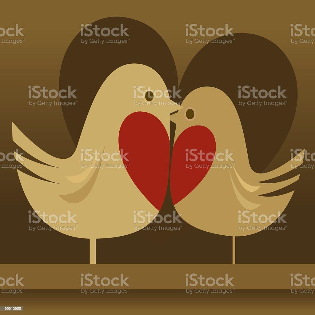 Two Love Birds - Royaltyfri Ansikte mot ansikte vektorgrafik