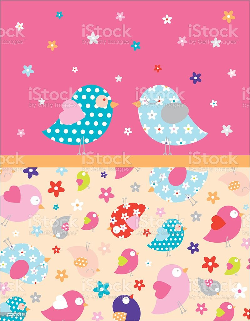 Two Love Birds with Floral Border royalty-free stock vector art