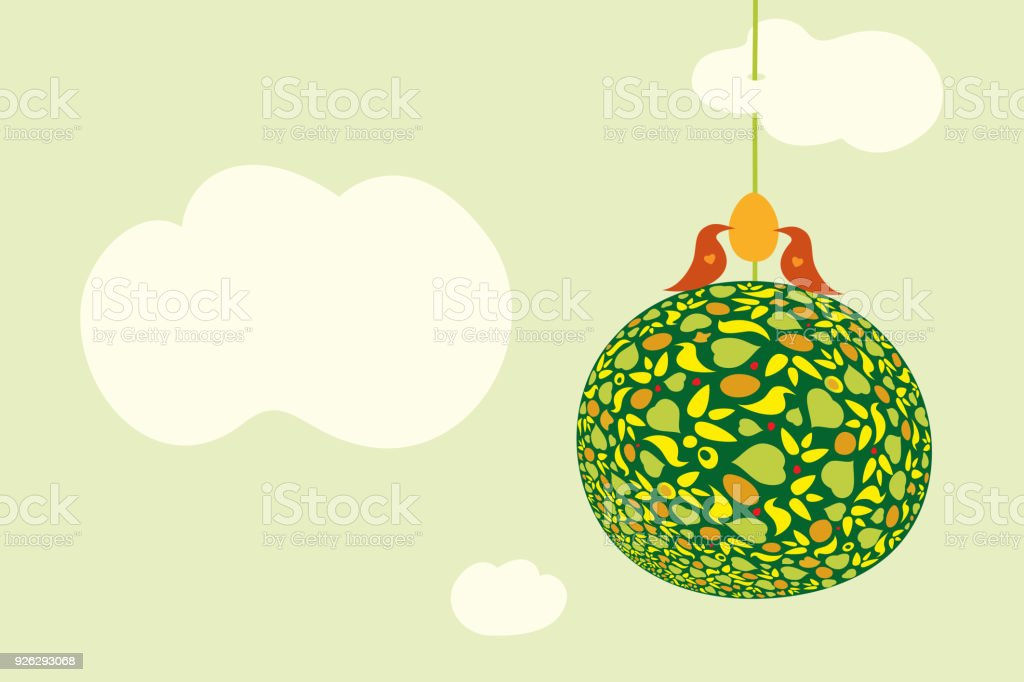 Two lovely birds with the egg on the top of Earth. Symbol of spring, Easter, awakening pregnancy or fertility. vector art illustration