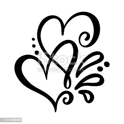 Two lover calligraphic hearts. Handmade vector calligraphy. Decor for greeting card, mug, photo overlays, t-shirt print, flyer, poster design.