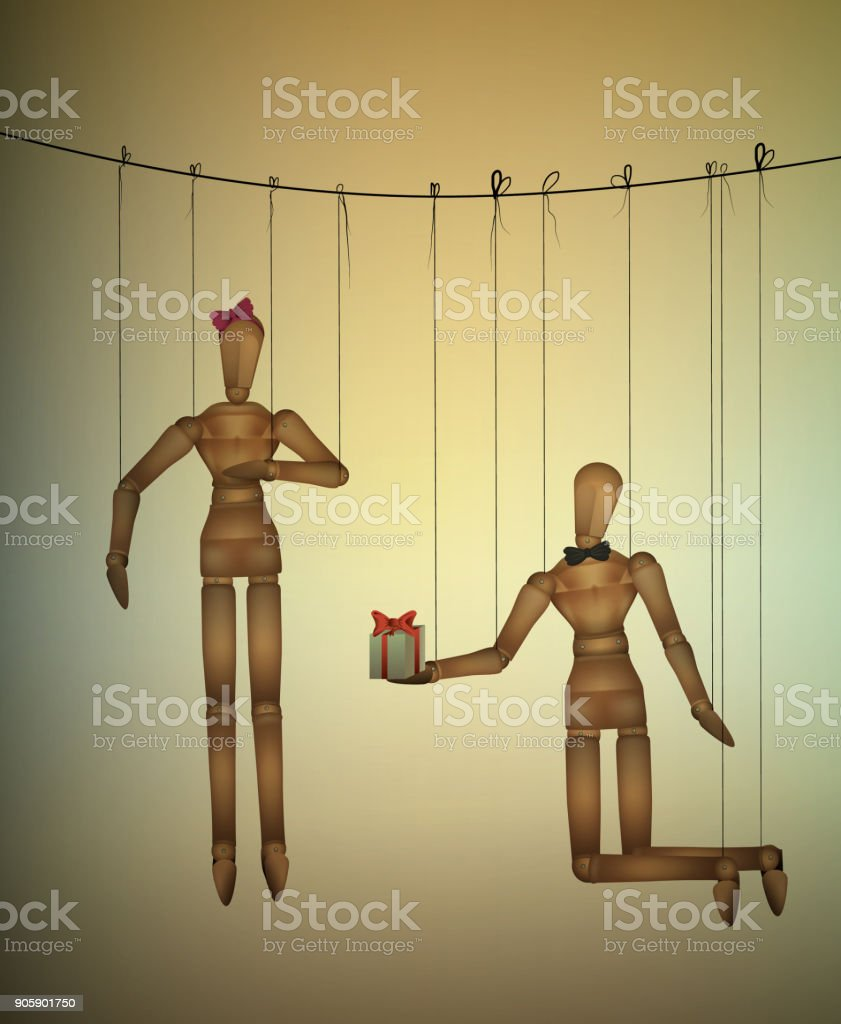 two lovers concept, romantic valentine marionettes, present for you idea, vector art illustration