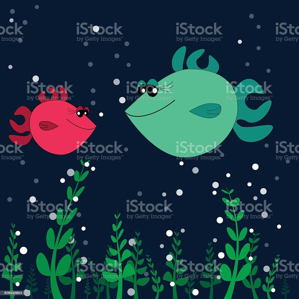 two lovers fishes on the sea bottom vector art illustration