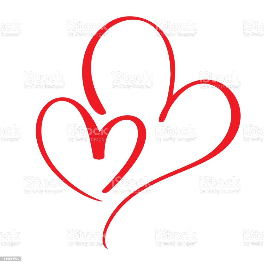 Zwei liebende Herzen. Handgemachte Vektor Kalligraphie. Dekor für Grußkarte, Tasse, Foto-Overlays, T-shirt Druck, Flyer, Poster-design - Lizenzfrei Abstrakt Vektorgrafik