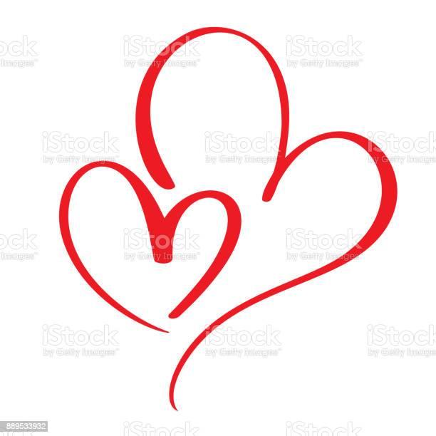 Zwei Liebende Herzen Handgemachte Vektor Kalligraphie Dekor Für Grußkarte Tasse Fotooverlays Tshirt Druck Flyer Posterdesign Stock Vektor Art und mehr Bilder von Abstrakt