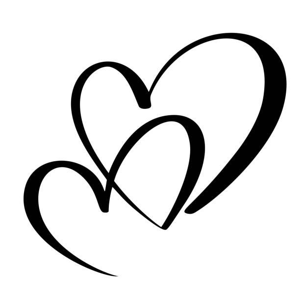 bildbanksillustrationer, clip art samt tecknat material och ikoner med två älskande hjärtat. handgjorda vektor kalligrafi. decor för gratulationskort, mugg, foto överlägg, t-shirt tryck, flyer, affisch design - två människor
