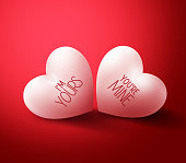 Two Lovers Hearts with You're mine and I'm Yours