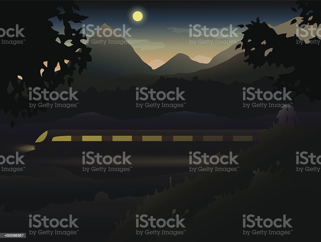 Two lovers in the hills and mountains observing Night Train royalty-free two lovers in the hills and mountains observing night train stock vector art & more images of adult