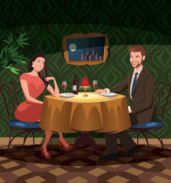 illustrazioni stock, clip art, cartoni animati e icone di tendenza di two lovers on date  in a restaurant - dinner couple restaurant