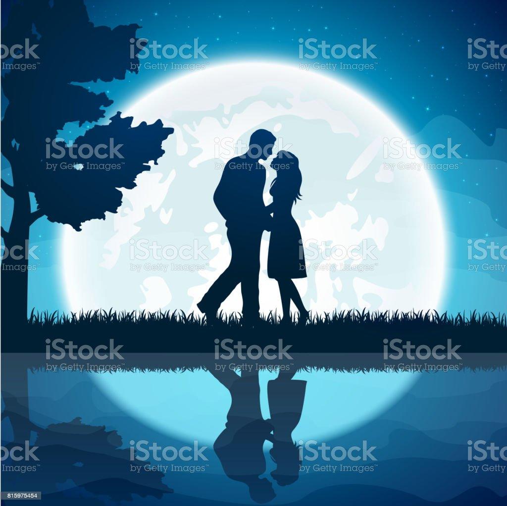 Liebespaar auf dem Mond-Hintergrund – Vektorgrafik