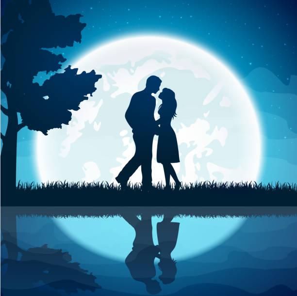 two lovers on the moon background - couples stock illustrations, clip art, cartoons, & icons