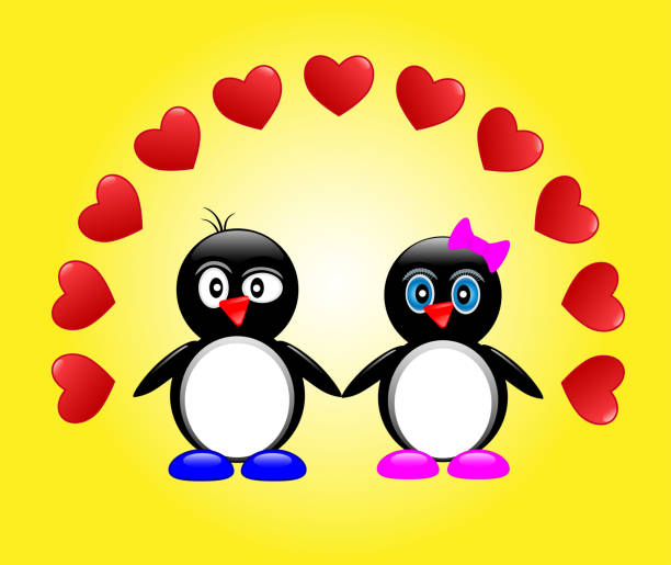 Royalty Free Valentines Day Greeting Card With Two Cute Cartoon Love