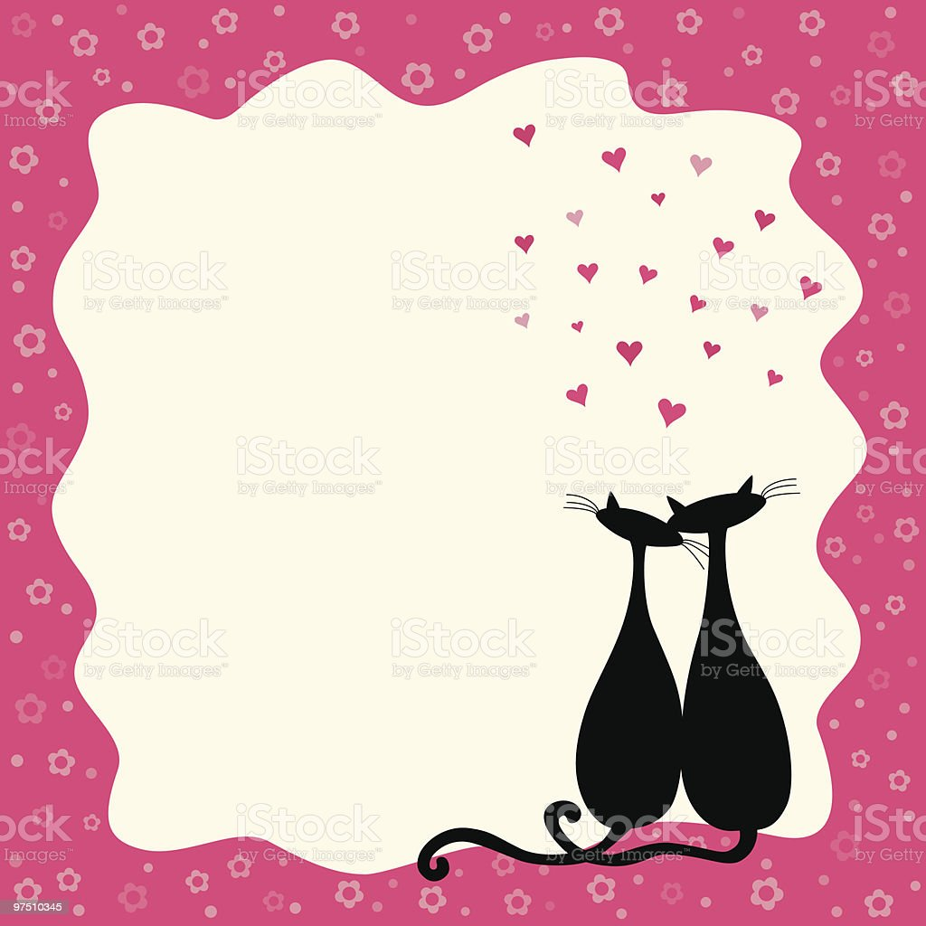 Two loving cats in a retro frame royalty-free two loving cats in a retro frame stock vector art & more images of affectionate