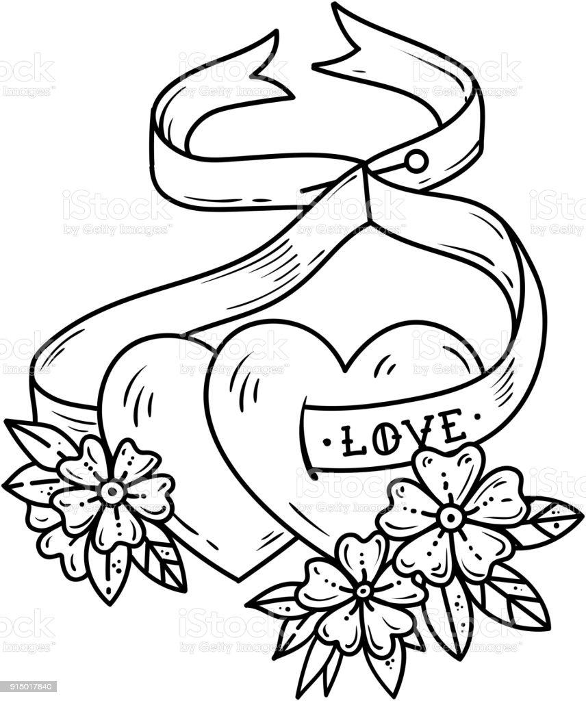 Ilustración De Dos Corazones Amor Atado Con Cinta Tatuaje De