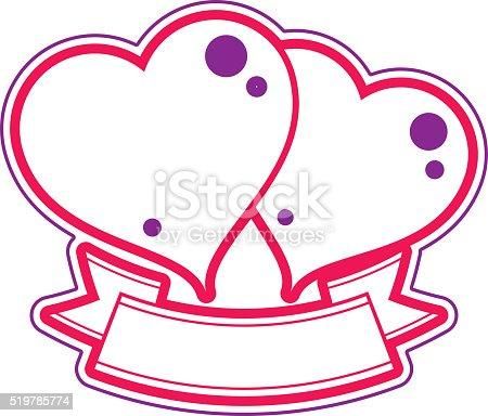 Two Loving Hearts Vector Illustration Wedding Theme Stock Vector Art