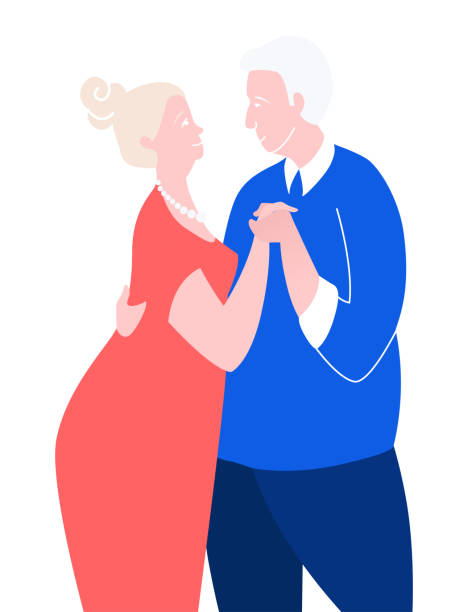 two loving seniors man woman hugging dancing face to face. - old man kissing stock illustrations, clip art, cartoons, & icons