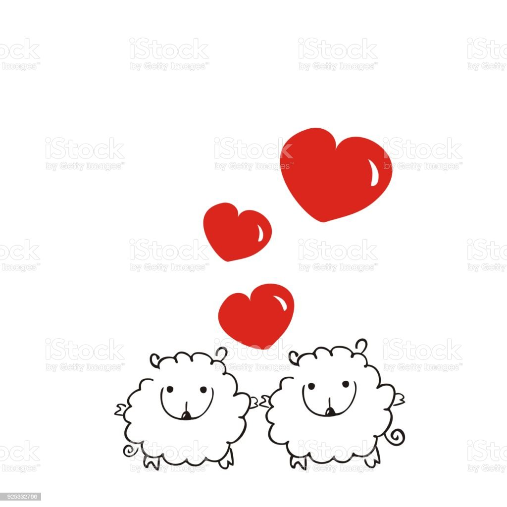 two loving sheep with hearts on white background cute holiday card