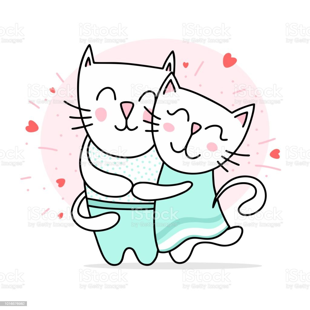 f7dc7315647 Two loving white cats hugs and smiling. Happy Valentine`s day love vector  flat illustration card - Illustration .