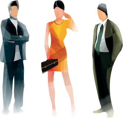 Two male and one female abstract business people