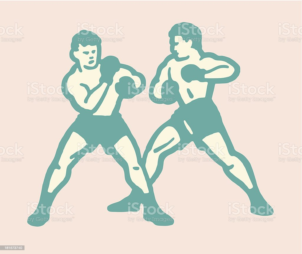 Two Male Boxers vector art illustration