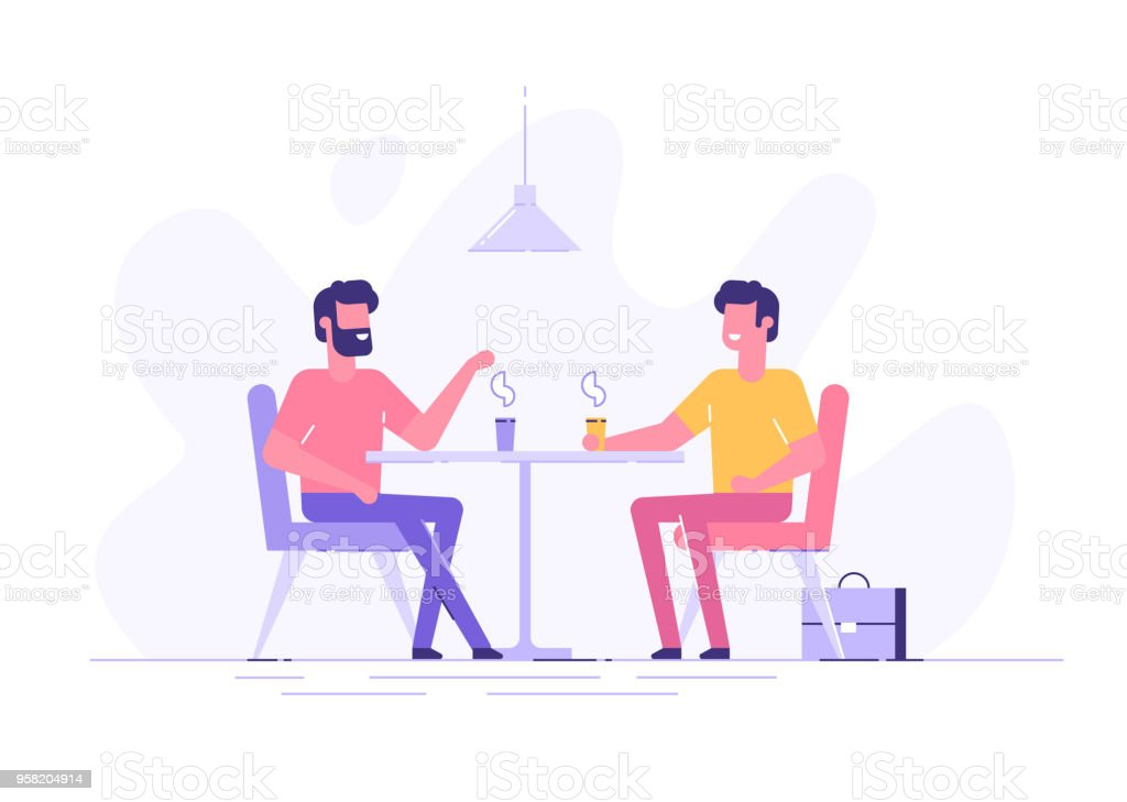 Two male colleagues chatting during coffee breaks at a table in a cafe. Modern flat vector illustration. vector art illustration