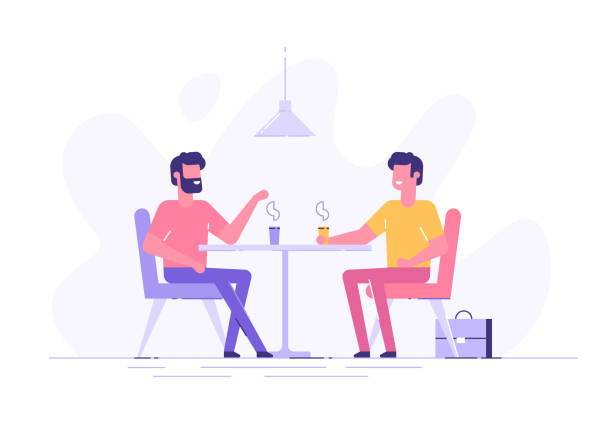 Two male colleagues chatting during coffee breaks at a table in a cafe. Modern flat vector illustration. Two male colleagues chatting during coffee breaks at a table in a cafe. Modern flat vector illustration. colleague stock illustrations