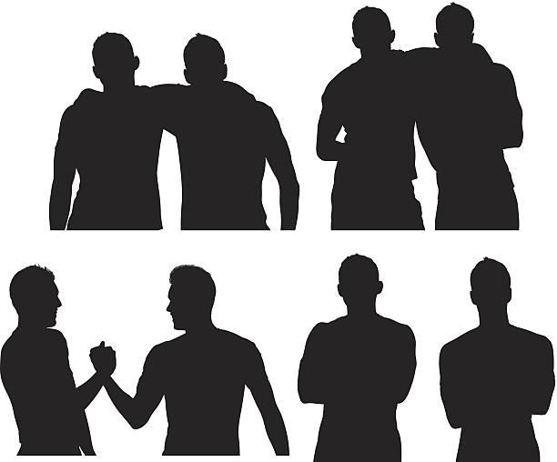 ilustrações de stock, clip art, desenhos animados e ícones de dois amigos do sexo masculino - da cintura para cima