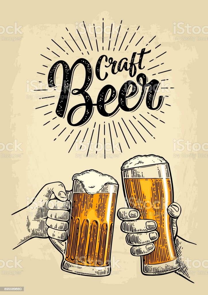 Two male hands holding a beer glass. Craft Beer calligraphic lettering. vector art illustration