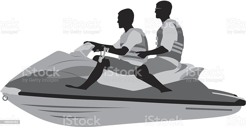 Two males on a jet ski royalty-free stock vector art
