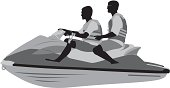Two males on a jet ski