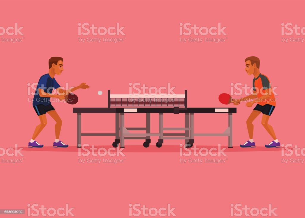 Two man characters playing tennis vector art illustration