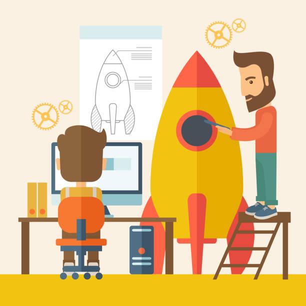 illustrations, cliparts, dessins animés et icônes de deux homme d'affaires pour démarrer - infographie processus