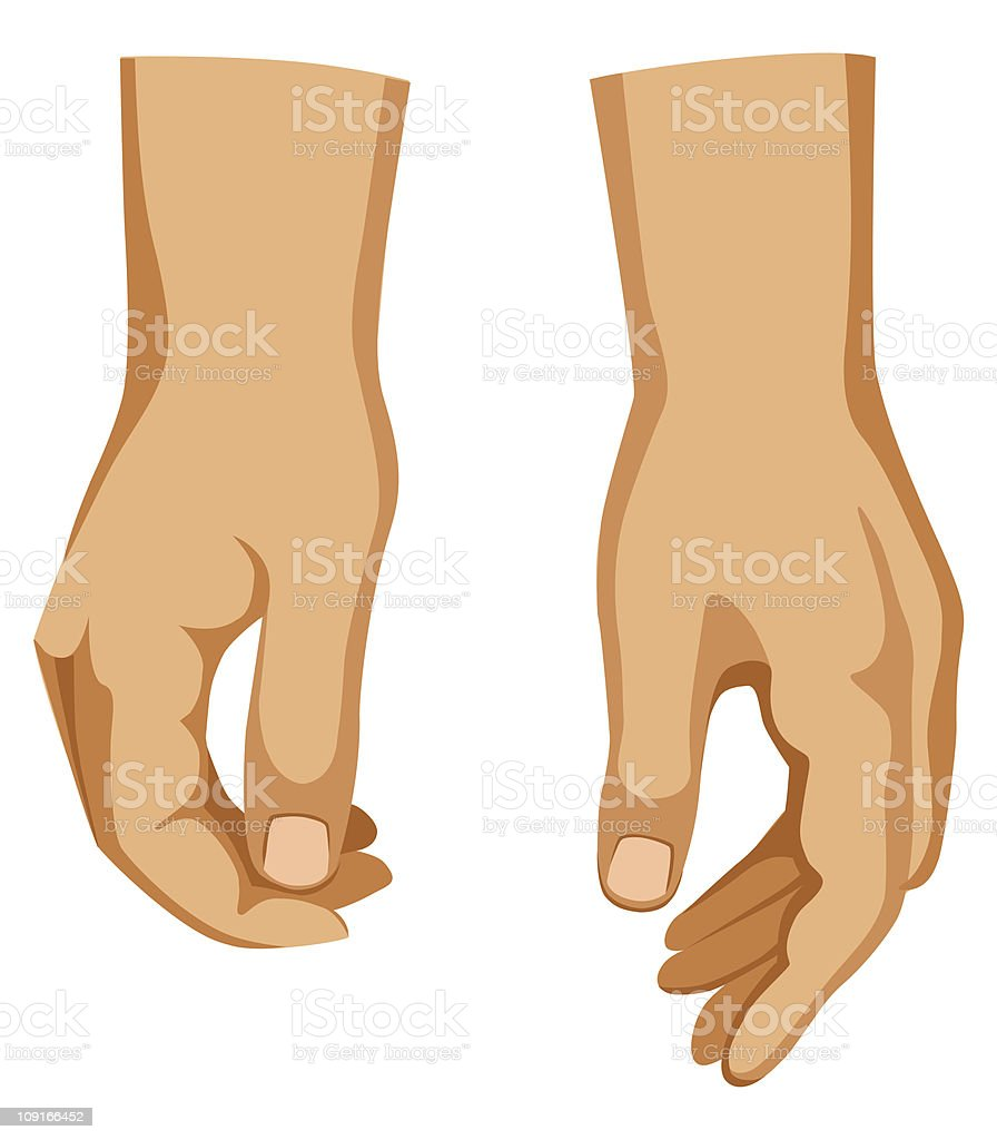 Two man hands vector art illustration