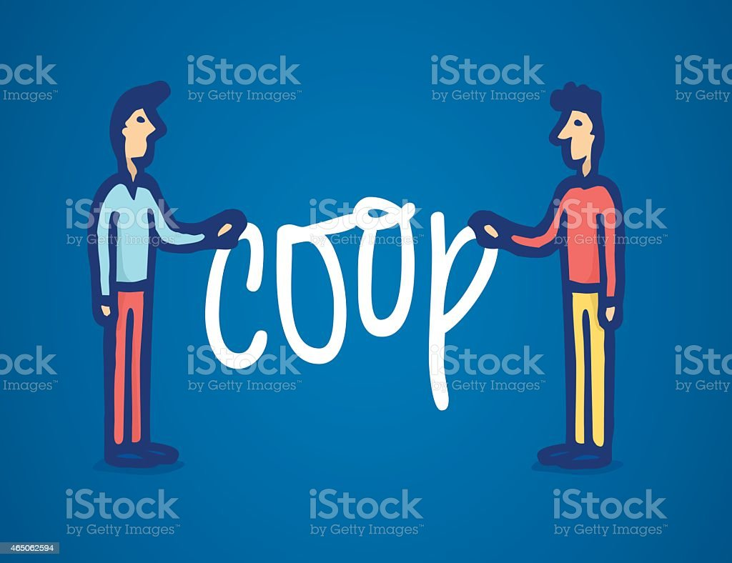 Two man holding coop word vector art illustration