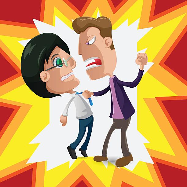 two man intimidate fight cartoon vector - old man crying cartoon stock illustrations, clip art, cartoons, & icons