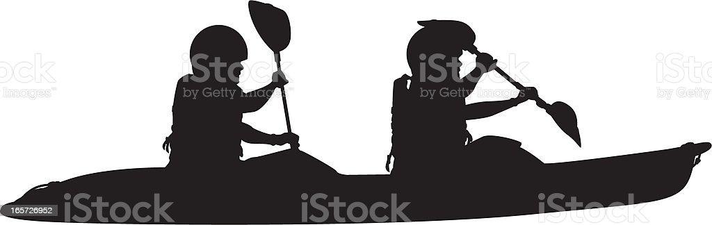 Two Man Kayak Silhouette royalty-free stock vector art