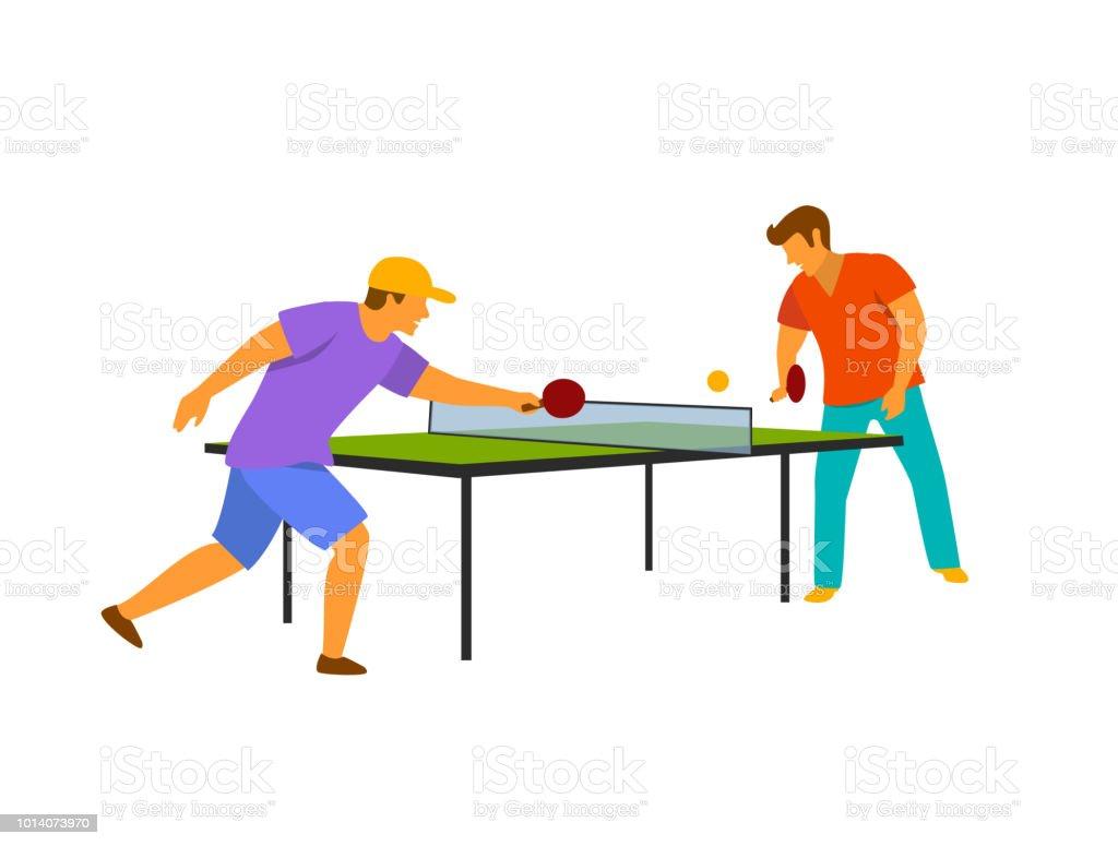 Deux homme jouer tennis de table illustration vectorielle - Dessin tennis de table ...