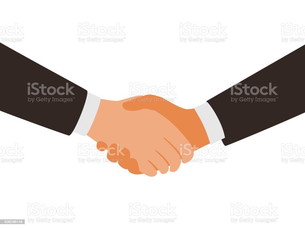 two man shaking hands vector art illustration