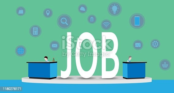 Two man working at  their desks with the word job written between them, vector