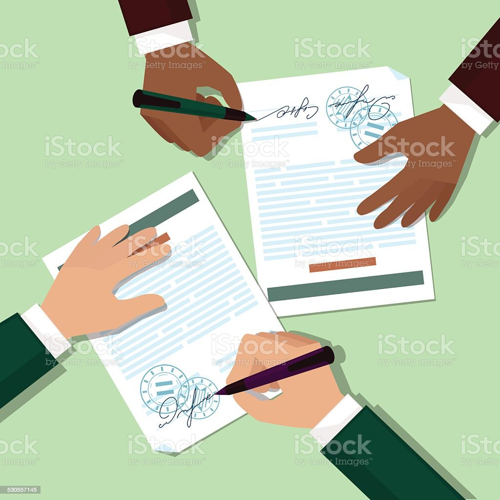 Two mans signs documents vector art illustration