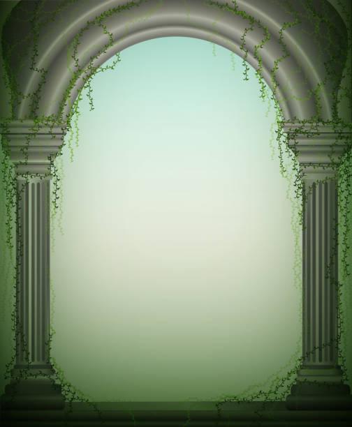 ilustrações de stock, clip art, desenhos animados e ícones de two marble columns and arch with green vines, renaissance facade, romantic place in the garden, theater decoration, - ivy building